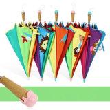 ブランドの子供の子供の長いアイスクリームのハンドルのかわいい漫画3Dパターン創造的な雨の明るく安全なパラソルの傘のギフトの高品質