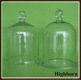 Vidrio de borosilicato personalizada campana de vidrio con asa fabricante