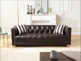 Wohnzimmer-Möbel-Leder-Chesterfield-Sofa