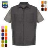 Het industriële Overhemd van het Werk van de Koker van het Blok van de Kleur Korte