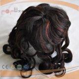 Toupee rosso di colore di indicatori luminosi delle donne dei capelli umani alto (PPG-l-0915)