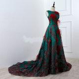 Vestido de noite vermelho da pena do vestido luxuoso longo do laço do verde do bordado