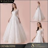 Spätestes Hochzeits-Kleid konzipiert Spitze-langes Hülsen-Hochzeits-Kleid