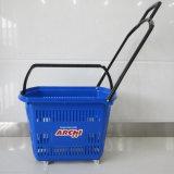 Supermarkt-Einkaufen-Laufkatze-Korb-Plastikgriff-Einkaufskorb