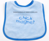 China Factory OEM Produce Custom Embroidery Purple Cotton Terry Blue Baby Absorb Bib