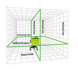 las líneas 3D 5 ponen verde el nivel del laser con el corchete del imán de la pared