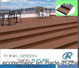 O composto de plástico à prova de madeira em viga em deck