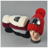 Beanie шлема зимы женщин теплый связанный напольный прикрепленный Squins (HW155)