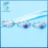 Preiswerter Preis-Großverkaufbunter Kubikzirconia-Form-Silber-Ring