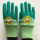 Le gant de sûreté de jardin de gosses, couplage de couleur, latex a enduit