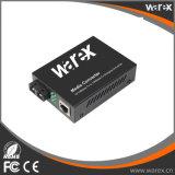 Custo - conversor eficaz 1X 10/100/1000Base-T RJ45 dos media a 1X 1000Base-X SC/FC/ST, fibra dupla, 1550nm 80km.