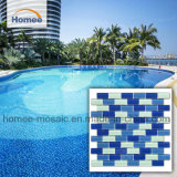 파란 색깔 장방형 모양 벽돌 도와 수영풀 모자이크 타일