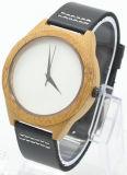 Reloj de madera clásico blanco de la correa de cuero del negro de la dial de la manera de la oferta del surtidor del oro