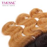 Do cabelo peruano de trama de Remy do cabelo humano do cabelo de Yvonne Ombre cor de trama T1b/30 da onda do corpo