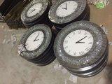 Floatingcrystals espejo biselado de plata de vidrio de reloj de pared redonda