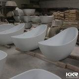 Bañera oval derecha libre de la piedra mate negra de la resina de Kingkonree