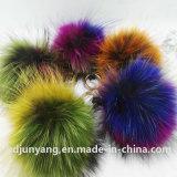 Роскошный волосатый анизотремус шерсти Raccoon прокладки шерсти Raccoon Keychain шарика