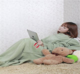 Coperta su ordinazione del panno morbido della coperta della manovella con la coperta dei manicotti con la casella (ES20520721AMA)