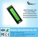 L'écran LCD 20X2 de caractère pointille l'affichage à cristaux liquides d'ÉPI vert jaunâtre pour industriel/matériel/médical