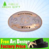 メーカー価格の卸売の革のための顧客用3D方法ロゴのウェビングのシート亜鉛合金または真鍮か西部の旧式な銀製の調節可能なメタルピンのベルトの留め金
