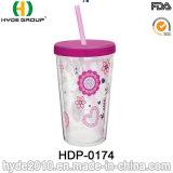 Nette 12oz BPA geben trinkendes Plastikcup mit Stroh frei
