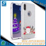 Weihnachtsserien-Funkeln-Puder 2017 3 in 1 transparentem TPU Telefon-Deckel für iPhone 7/8