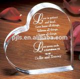 Coeur de verre cristal avec l'horloge pour le cadeau de faveur de mariage