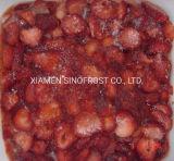 IQF ha affettato le fragole, fragole affettate congelate, fragole affettate congelate con lo zucchero, fragole tagliate IQF, purè congelato della fragola, congelato 4+1 fragola
