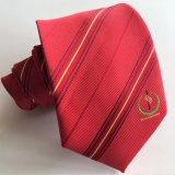 La mode masculine Micorfiber de couleur rouge Logo tissé cravates (L056)