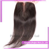 Светло-коричневым кружевом закрытие кружева средней части волос закрытия