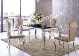 Table à manger contemporaine en marbre artificiel à jambières en acier inoxydable, table à manger en marbre, table à manger en pierre