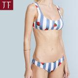 Biquini de nylon branco das mulheres brasileiras do Swimwear do OEM