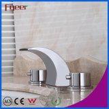 Fyeer Sanitary Ware Double Handle Banheiro Cachoeira Bico de Bacia Misturador