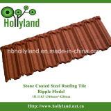 波形の鋼板の石の上塗を施してある金属の屋根瓦(さざ波のタイル)