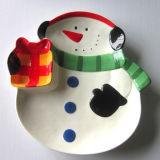 Plat en céramique peint à la main de bonhomme de neige de vaisselle de Noël (GW1288)