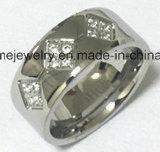Las piedras del anillo 5PCS de la joyería de la manera embutieron el anillo del acero inoxidable (CZR2524)
