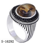 925 Silver New Model Natural Agate Man Ring Black CZ Men Rings