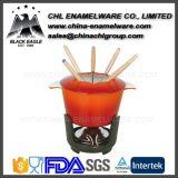 Kundenspezifisches gesundes emailliertes Roheisen-Eiscreme-Fondue-Set