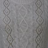 Dessus du chandail des dames chaudes molles de type à la mode de Spring&Autumn avec les chemises au loin barrées et longues de configuration de câble de corps entiers