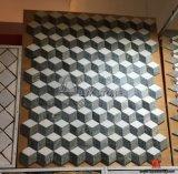 Marmo naturale multicolore 3D che collega il mosaico quadrato di figura