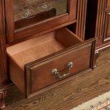 أثر قديم خشب تلفزيون حامل قفص خزانة مع أبواب زجاجيّة ([غسب15-002])
