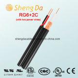 RG6 mit zwei Energien-Draht-Sicherheit Koaxial-CCTV-Kabel