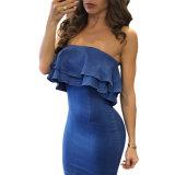 Vestito senza bretelle dalla doppia increspatura blu del denim mini