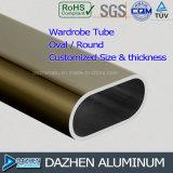 Le profil en aluminium d'extrusion de tube ovale rond de garde-robe a personnalisé