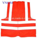 Vest van Workwear van de Veiligheid van het netwerk het Weerspiegelende met Zwarte Band en Vier Weerspiegelende Banden