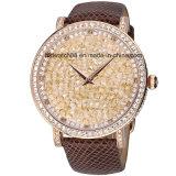 Het Horloge van het Kristal van de Vrouwen van de manier met de Band van het Leer