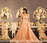 Manga de renda Vestidos de casamento rosa Vestidos de baile de festa Tulle P129