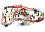 Don Christams caliente 120PCS Conjunto de tren de madera para niños y los niños