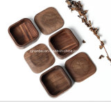 Rectángulo de regalo de madera grabado aduana de la joyería de la pequeña nuez de la insignia
