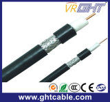 1.02mmcu、4.8mmpe、64*0.12mmalmg、Od: 6.8mm黒いPVC同軸ケーブルRG6